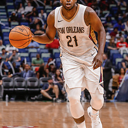 Oct 3, 2017; New Orleans, LA, USA; New Orleans Pelicans forward Darius Miller (21) against the Chicago Bulls during a NBA preseason game at the Smoothie King Center. The Bulls defeated the Pelicans 113-109. Mandatory Credit: Derick E. Hingle-USA TODAY Sports