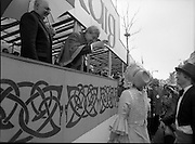 St Patrick's Day Parade.1982.17/03/1982.03.17.1982.Photo of representatives from Birr Vintage Week address the Lord Mayor and Mr Tom Stafford
