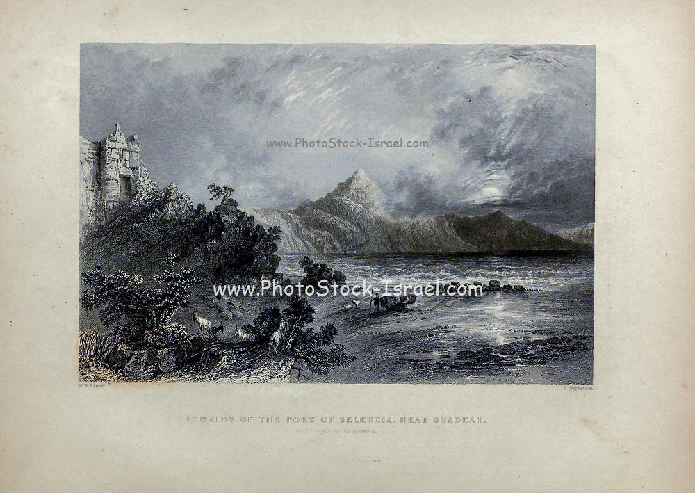 Remains of the Port of Seleucia, near Suadeah Mount Casius in the distance from Volume 2 of Syria, the Holy Land, Asia Minor, &c. by Carne, John, 1789-1844; Illustrated by Bartlett, W. H. (William Henry), 1809-1854, and Allom, Thomas, 1804-1872 Published in London in 1837