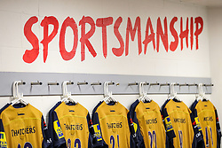 Shirts hang up in the Bristol Rugby visitors changing room ahead of their match against Harlequins - Rogan Thomson/JMP - 03/09/2016 - RUGBY UNION - Twickenham Stadium - London, England - Aviva Premiership London Double Header.