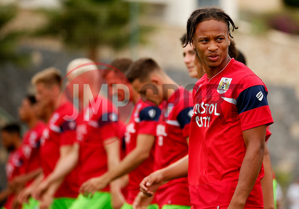Bobby Reid of Bristol City warms up with team mates - Mandatory by-line: Matt McNulty/JMP - 22/07/2017 - FOOTBALL - Tenerife Top Training - Costa Adeje, Tenerife - Bristol City v Atletico Union Guimar  - Pre-Season Friendly