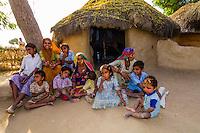 Women and children in Bishnoi tribal village, near Rohet, Rajasthan, India