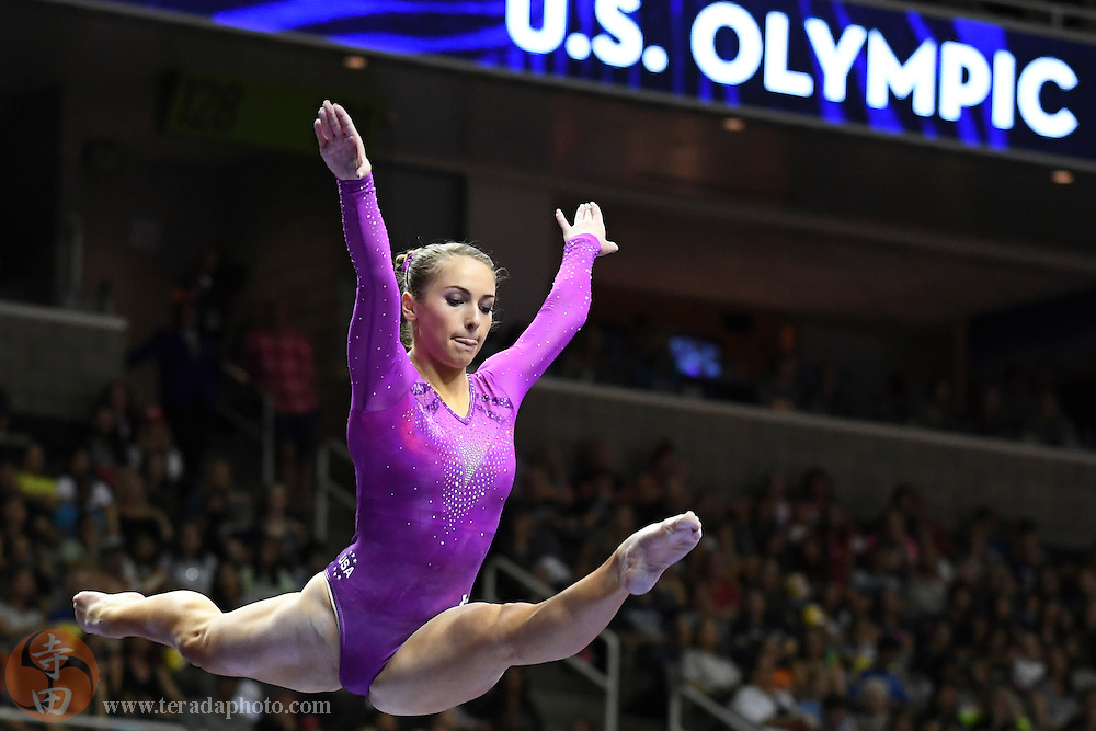 July 10, 2016; San Jose, CA, USA; Christina Desiderio, from Hackettstown, NJ, during the balance beam in the women's gymnastics U.S. Olympic team trials at SAP Center.