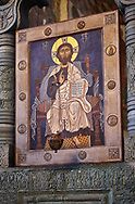 Pictures & images of the interior Iconostasis screen and icons.  The Eastern Orthodox Georgian Svetitskhoveli Cathedral (Cathedral of the Living Pillar) , Mtskheta, Georgia (country). A UNESCO World Heritage Site.<br /> <br /> Currently the second largest church building in Georgia, Svetitskhoveli Cathedral is a masterpiece of Early Medieval architecture completed in 1029 by Georgian architect Arsukisdze on an earlier site dating back toi the 4th century. .<br /> <br /> Visit our MEDIEVAL PHOTO COLLECTIONS for more   photos  to download or buy as prints https://funkystock.photoshelter.com/gallery-collection/Medieval-Middle-Ages-Historic-Places-Arcaeological-Sites-Pictures-Images-of/C0000B5ZA54_WD0s<br /> <br /> Visit our REPUBLIC of GEORGIA HISTORIC PLACES PHOTO COLLECTIONS for more photos to browse, download or buy as wall art prints https://funkystock.photoshelter.com/gallery-collection/Pictures-Images-of-Georgia-Country-Historic-Landmark-Places-Museum-Antiquities/C0000c1oD9eVkh9c