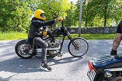 Jim Jansson riding his 2004 Harley-Davidson 1200 cc Sportster on the Twin Club ride from their club house in Norrtälje after their annual Custom Bike Show. Sweden. Sunday, June 2, 2019. Photography ©2019 Michael Lichter.