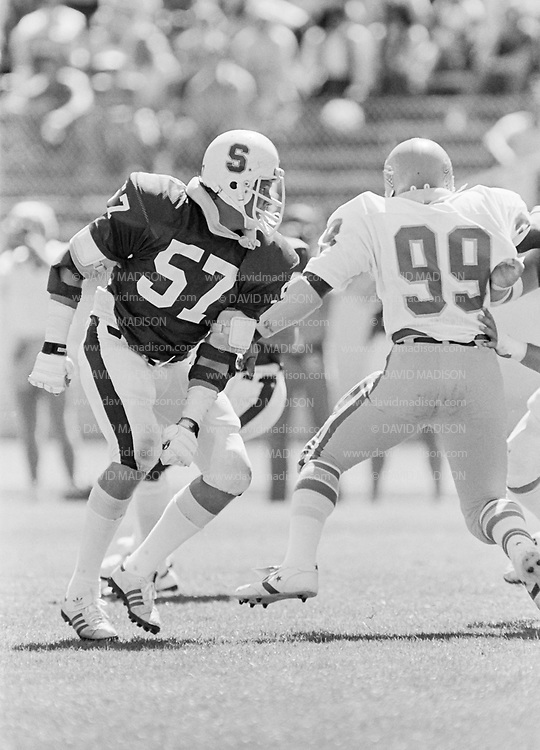 COLLEGE FOOTBALL:  Stanford vs San Jose State on September 19,1981 at Stanford Stadium in Palo Alto, California.  Mike Teeuws #57.  Photograph by David Madison ( www.davidmadison.com ).