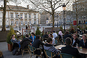 Outdoor cafe by the Luxembourg Town Hall, Luxembourg.