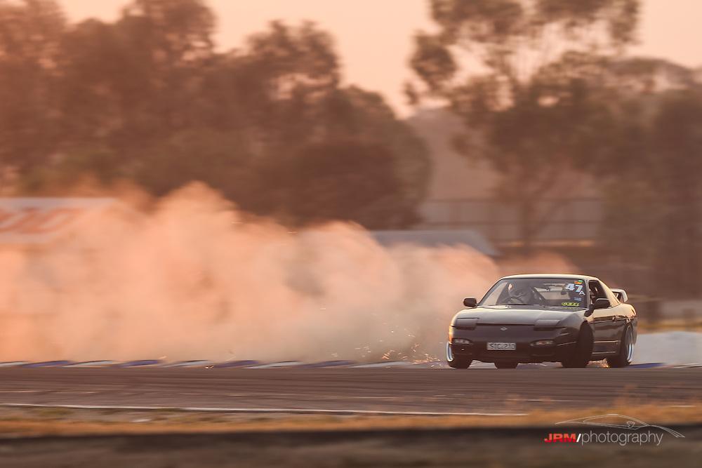 Gerald running a little wide sending sparks and dust up in the big cloud behind him @Vic Drift Summer Matsuri 2013