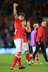 2nd September 2017 - 2018 FIFA World Cup Qualifying (Group D) - Wales v Austria - A tearful Ben Woodburn of Wales gives the thumbs up after the match - Photo: Simon Stacpoole / Offside.