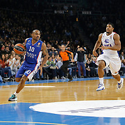 Anadolu Efes's Dontaye Draper (L) and CSKA Moscow's Kyle Hines (R)during their Turkish Airlines Euroleague Basketball Top 16 Round 3 match Anadolu Efes between CSKA Moscow at Abdi ipekci arena in Istanbul, Turkey, Thursday 15, 2015. Photo by Aykut AKICI/TURKPIX