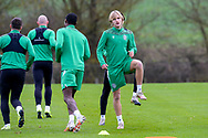 Trialist Thomas Roberts during the Hibernian training session at Hibernian Training Centre, Ormiston, Scotland on 27 November 2020, ahead of their Betfred Cup match against Dundee.