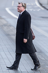 © Licensed to London News Pictures . 16/01/2014 . Salford , UK . ED BALLS , MP for  Morley and Outwood , arrives at the funeral . The funeral of Labour MP Paul Goggins at Salford Cathedral today (Thursday 16th January 2014) . The MP for Wythenshawe and Sale East died aged 60 on 7th January 2014 after collapsing whilst out running on 30th December 2013 . Photo credit : Joel Goodman/LNP