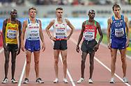 Oscar Chelimo (Uganda), Andrew Butchart (Great Britain), Julien Wanders (Switzerland), Jacob Krop (Kenya), Ben True (USA) before Heat 1 of the 5000 metres Man, Round 1, during the 2019 IAAF World Athletics Championships at Khalifa International Stadium, Doha, Qatar on 27 September 2019.