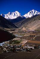 A small tibetan village nestled by a stream near Milarepa's Cave, Tibet.