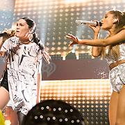 "WASHINGTON, DC - December 15th, 2014 - Jesse J and Ariana Grande perform their hit song ""Bang Bang"" during HOT 99.5's Jingle Ball 2014 at the Verizon Center in Washington, D.C. (Photo By Kyle Gustafson / For The Washington Post)"