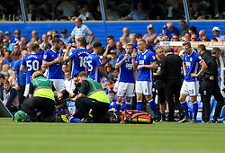 Carl Jenkinson receives medial treatment after injuring his shoulder - Mandatory by-line: Paul Roberts/JMP - 26/08/2017 - FOOTBALL - St Andrew's Stadium - Birmingham, England - Birmingham City v Reading - Sky Bet Championship