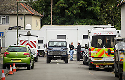 © Licensed to London News Pictures. 17/09/2017. Sunbury-on-Thames, UK. Search and forensics vehicles seen during the second day of a police search at a property (not pictured) in Sunbury-on-Thames, in connection with the recent terror attack at Parsons Green tube station in London. Photo credit: Ben Cawthra/LNP