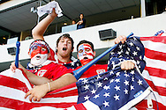 July 18 2009: USA fans wave an American Flag during the game between USA and Panama. The United States defeated Panama 2-1 in added extra time in a CONCACAF Gold Cup quarter-final match at Lincoln Financial Field in Philadelphia, Pennsylvania.