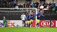 Fotball Menn UEFA Europa League<br /> Rosenborg - RB Leipzig<br /> Lerkendal Stadium, Trondheim, Norway<br /> 4 oktober 2018<br /> <br /> Jean-Kevin Augustin (H) har scoret 0-1 for RB Leipzig<br /> <br /> Foto : Arve Johnsen, Digitalsport