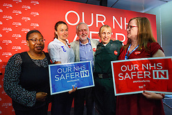 © Licensed to London News Pictures. 14/06/2016. London, UK. Labour Leader JEREMY CORBYN meets NHS staff after his speech on how NHS is better off in the EU at TUC Conference Centre in London on 14 June 2016. Photo credit: Tolga Akmen/LNP