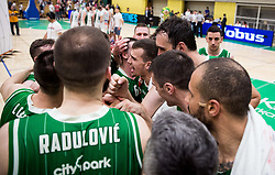 Players of Petrol Olimpija celebrate after the basketball match between KK Krka Novo mesto and  KK Petrol Olimpija in 4th Final game of Liga Nova KBM za prvaka 2017/18, on May 27, 2018 in Sports hall Leona Stuklja, Novo mesto, Slovenia. Photo by Vid Ponikvar / Sportida