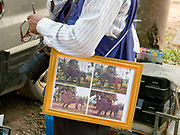A professional photographer sells framed photographs of elephants copulating at the Sayaboury elephant festival, Sayaboury province, Lao PDR.