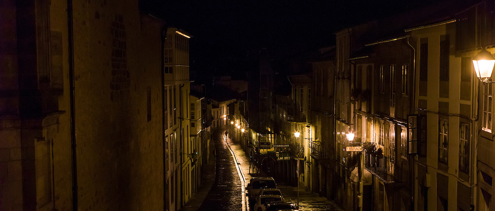 Night scene in the streets of Santiago de Compostela in Galicia, Northern Spain