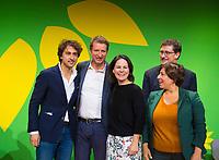 DEU, Deutschland, Germany, Berlin, 23.11.2018: Jesse Klaver, Party Leader of Groen Links (Netherlands), Yannick Jadot (MEP), Annalena Baerbock, Co-chair of Bündnis 90 / Die Grünen (Germany), Meyrem Almaci, President of Groen (Belgium),  Eamon Ryan, Co-Chair of Green Party / Comhaontas Glás (Ireland). Council of the European Green Party (EGP council) at Deutsche Telekom Representative Office.