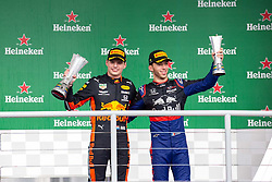 November 17, 2019, Sao Paulo, Sao Paulo, Brazil: MAX VERSTAPEN, of Red Bull Racing 1st place and PIERRE GASLY, of Toro Rosso Honda, 2nd place of the Formula One Grand Prix of Brazil 2019 at Interlagos circuit, in Sao Paulo, Brazil, on Sunday, November 17. (Credit Image: © Paulo Lopes/ZUMA Wire)
