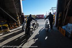 Big Scott Stopnik, Andy Carter and Jeff Leighton at the local docks before the Mooneyes Yokohama Hot Rod & Custom Show. Yokohama, Japan. December 5, 2015.  Photography ©2015 Michael Lichter.