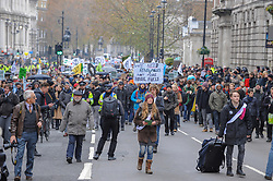 Extinction Rebellion campaigners came together in London for Rebellion Day 2. The protesters gathered on Parliament Square and blocked all roads leading up to the area. They then marched along Whitehall towards Trafalgar Square. The pro-people and planet group are calling on the Government to reduce carbon emissions to net zero by 2025 and to reduce consumption levels. London, 24 November 2018.