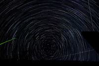 Startrail Looking North. Composite of images (23:20-00:19) taken with a Nikon D850 camera and 19 mm f/4 PC-E lens (ISO 200, 19 mm, f/4, 30 sec). Raw images processed with Capture One Pro and the composite created using Photoshop CC (scripts, statistics, maximum).