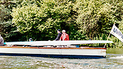 Henley on Thames, England, 1999 Henley Royal Regatta, River Thames, Henley Reach,  [© Peter Spurrier/Intersport Images],  Steam Pleasure Boat,  The Umpires Launch, Bosporos carries a damaged scull boat back to the Start,