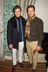 Left to right, OLIVER CHESHIRE and PAUL SCULFOR at a cocktail reception hosted by the Woolmark Company, Pierre Lagrange and the Savile Row Bespoke Association to celebrate 'The Ambassador's Project' for London Collections Mens at Marks Club, Charles street, London on 8th January 2016.