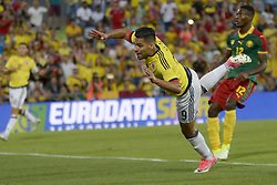 June 13, 2017 - Getafe, Spain - Radamel Falcao of Colombia fights the ball before the mark Jean-Patrick Abouna of Cameroon, friendly match played in the stadium Coliseum Alfonso Perez, in Getafe, Tuesday June 13, 2017. (Credit Image: © Luis Salgado/NurPhoto via ZUMA Press)