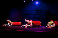 The Barrel routine during the BAI XI Chinese Circus opening at The New Victory Theater in New York. ...Photo by Robert Caplin.