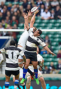 England lock Joe Launchbury (Wasps) competes with Barbarians flanker George Smith (Lyon & Australia) for a high ball during the International Rugby Union match England XV -V- Barbarians at Twickenham Stadium, London, Greater London, England on May  31  2015. (Steve Flynn/Image of Sport)