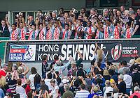 HONG KONG - APRIL 10:  Japan players celebrate after winning the Qualifiers final match during the 2016 Hong Kong Sevens at Hong Kong Stadium on April 10, 2016 in Hong Kong.  (Photo by Juan Manuel Serrano Arce/Getty Images)