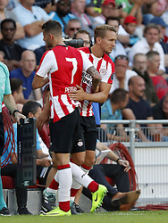 (L-R) Gaston Pereiro of PSV, Luuk de Jong of PSV during the Dutch Eredivisie match between PSV Eindhoven and Roda JC Kerkrade at the Phillips stadium on August 27, 2017 in Eindhoven, The Netherlands