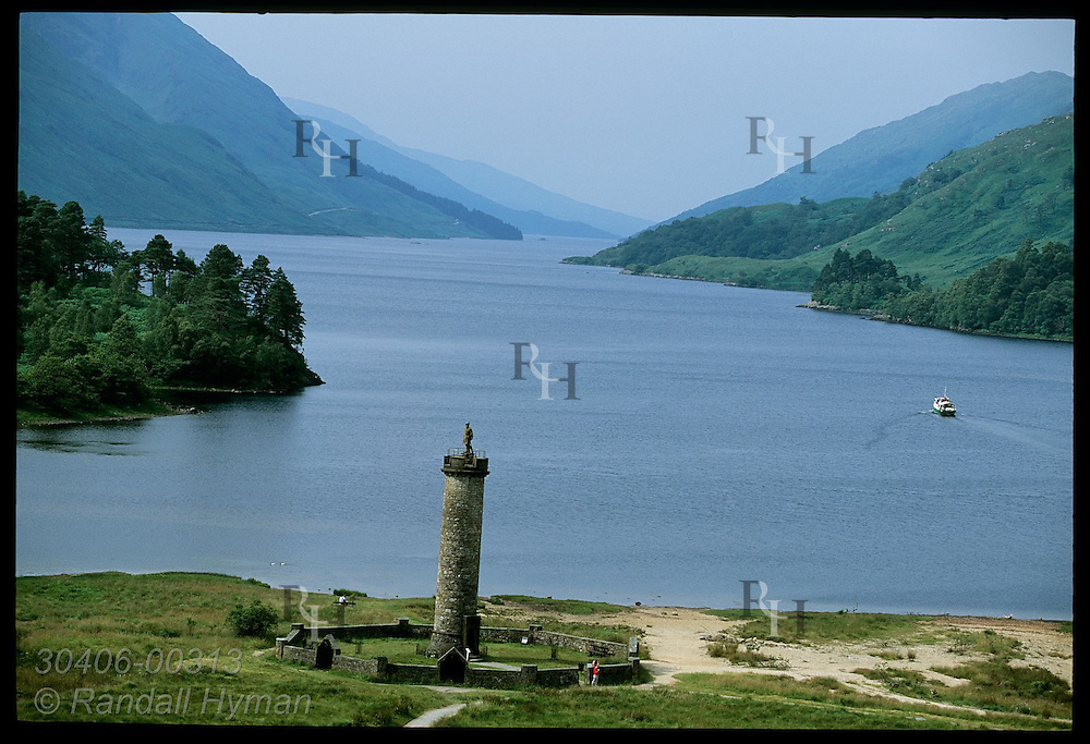 Glenfinnan Monument on the banks of Loch Shiel honors the Jacobite rebellion of 1745; Glenfinnan, Scotland.