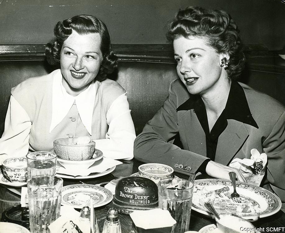 1954 Jo Stafford & Ann Sheridan at The  Brown Derby on Vine St.
