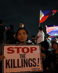 August 21, 2017 - Philippines - A protester holds a placard during a rally against extrajudicial killings in Quezon City, east of Manila, Philippines on Monday, 21 August 2017. The death of Kian Delos Santos, who was killed by policemen in an alleged shootout, has sparked protests and condemnation from the public against alleged extrajudicial killings on drug users and pushers. (Credit Image: © Richard James M. Mendoza/Pacific Press via ZUMA Wire)