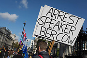 "Twenty-four hours day after the House of Commons Speaker John Bercow refused a government request to hold a ""yes"" or ""no"" vote on its Brexit deal, a Brexiteer's placard calls for his arrest, on 22nd October 2019, in London, England. Bercow had said a motion on the deal had been brought before MPs on (Super) Saturday when MPs had sat (to vote for Boris Johnson's Brexit deal), for the first time in 37 years, saying it would be ""repetitive and disorderly"" to debate it again. Bercow has also historically been accused of bias by Conservatives and Brexit supporters. (Photo by Richard Baker / In Pictures via Getty Images)"