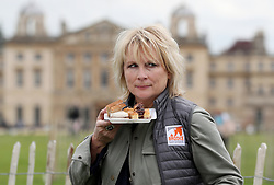 Jennifer Saunders having photos taken in support of Brooke's fundraiser 'High Teas for Gee Gees' during day three of the Mitsubishi Motors Badminton Horse Trials at The Badminton Estate, Gloucestershire.