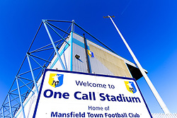 A general view of the One Call Stadium, home to Mansfield Town - Mandatory by-line: Ryan Crockett/JMP - 23/02/2019 - FOOTBALL - One Call Stadium - Mansfield, England - Mansfield Town v Forest Green Rovers - Sky Bet League Two