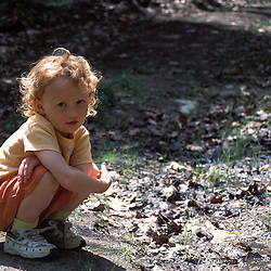 A young  girl explores the forest at the recently protected Sawyer/Richardson Property.  Boxford, MA