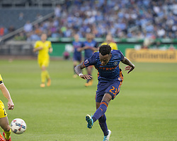 October 22, 2017 - New York, New York, United States - Rodney Wallace (23) of NYC FC shots on goal during MLS regular game against Columbus Crew SC at Citi Field Game ended in draw 2 - 2  (Credit Image: © Lev Radin/Pacific Press via ZUMA Wire)