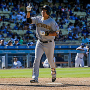 Aug 13 2016 - Los Angeles U.S. CA - Pittsburgh Pirates 3B # 27 Jung Ho Kang hit his 12th home run during MLB game between LA Dodgers and the Pittsburgh Pirates 8-4 lost at Dodgers Stadium Los Angeles Calif. Thurman James / CSM