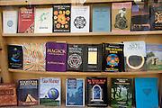 Religious, spiritual, magic books on display in bookshop window, Glastonbury, Somerset, England