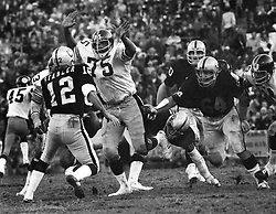 """Oakland Raider quarterback Ken Stabler is about to be sacked by """"mean"""" Joe Green of the Pittsburg Steelers.(1974 photo by Ron Riesterer)"""